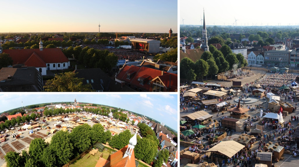 Eine Collage mit Luftaufnahmen der Stadt Heide.