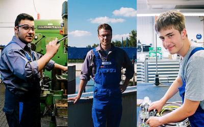 Drei Männer in Arbeitskleidung auf einer Fotocollage.