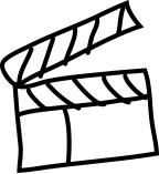 EIne illustrierte Filmklappe.