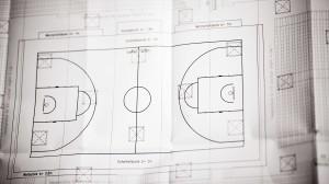 Der Plan für ein basketball-Spiel.