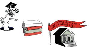 Illustration mit dem Thema Universität.