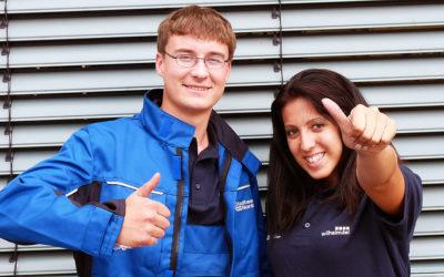 Marvin und Zuhal werden Elektroniker und Anlagemechaniker bei den Stadtwerken Norderstedt