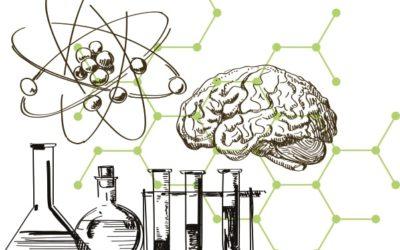 Reagengläser, Atome und ein Gehirn.