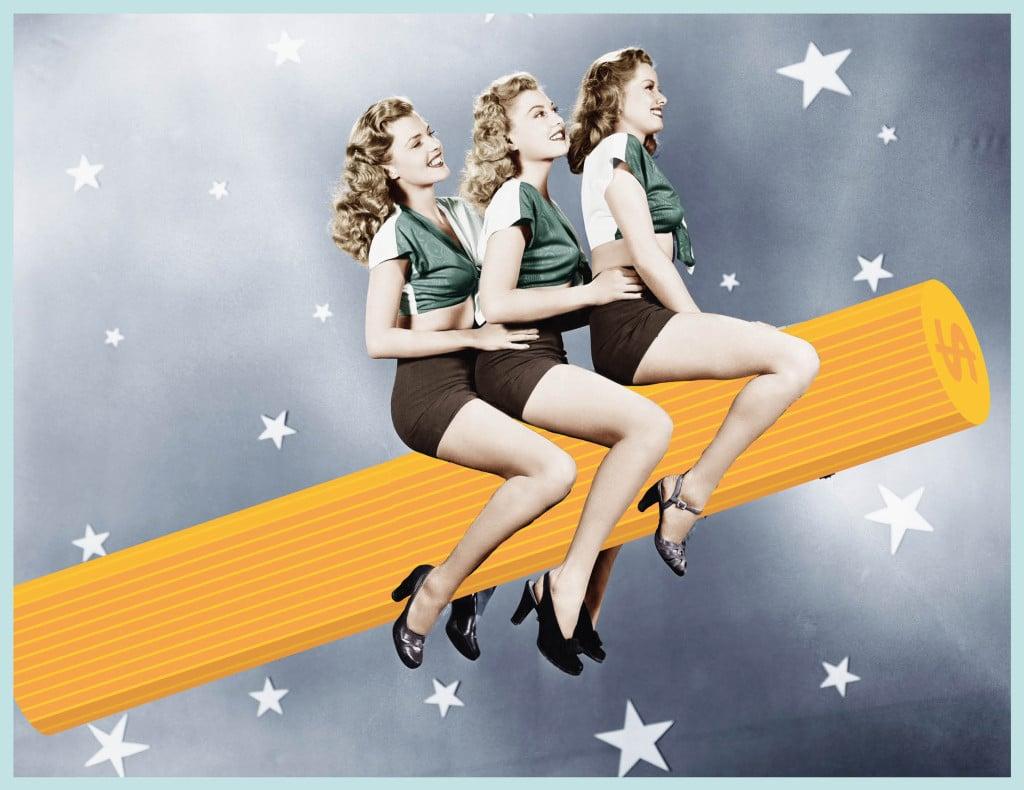 Drei junge Frauen fliegen auf einem Bleistift durch den nächtlichen Sternenhimmel.