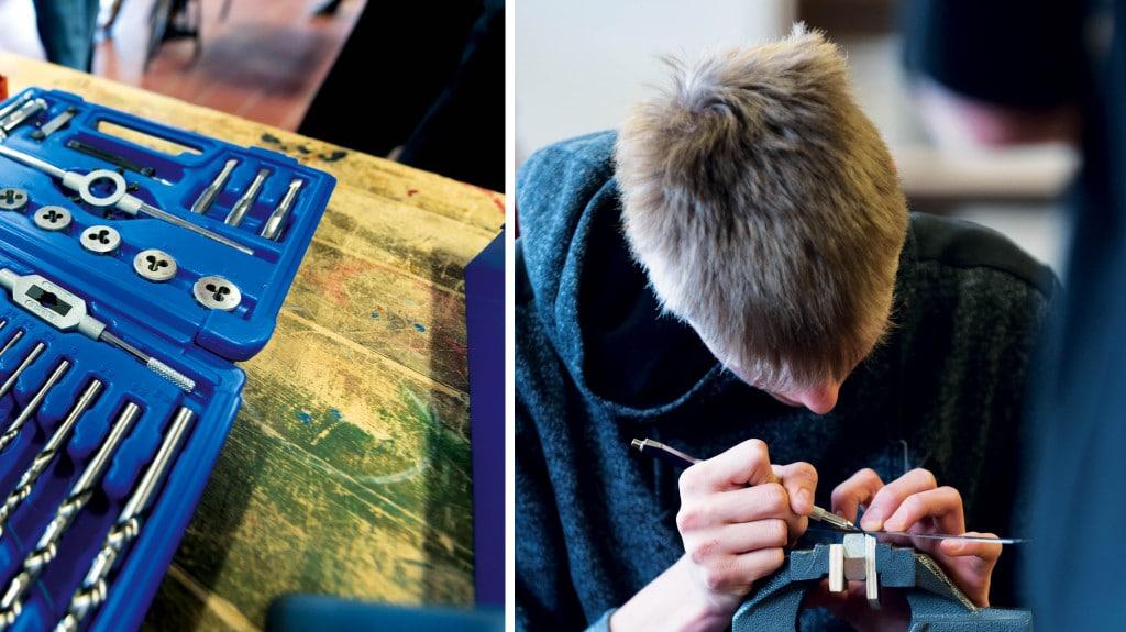 Eine Collage mit Werkzeug und experimentierenden SChülern.