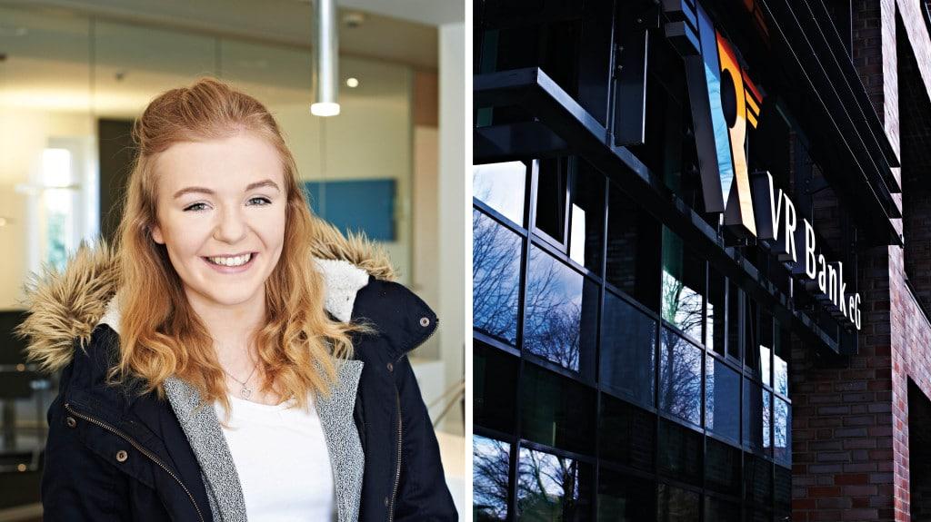 Eine Collage mit einer jungen lächelnden Frau und der gläsernen Fassade eines Gebäudes.