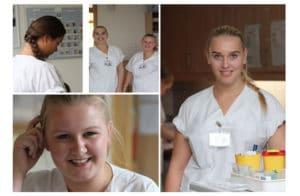 """Vom Projekt """"Schüler leiten eine Station"""" rest- los begeistert: die angehenden Gesundheits- und Krankenpfleger/-innen Jule Ehmke (rechts), Julia Hansen (links) und Juliane Thiel (unten)"""