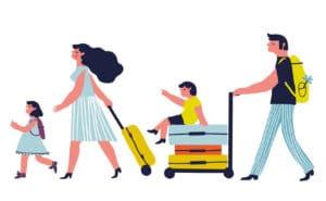 Illustration einer Familie die verreist