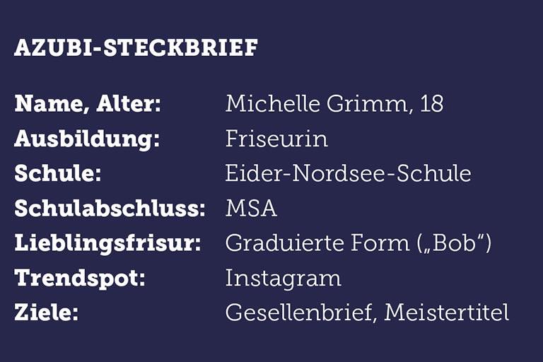 Michelle Grimm wird Friseur Friseurin im Salon Kamm und Schere