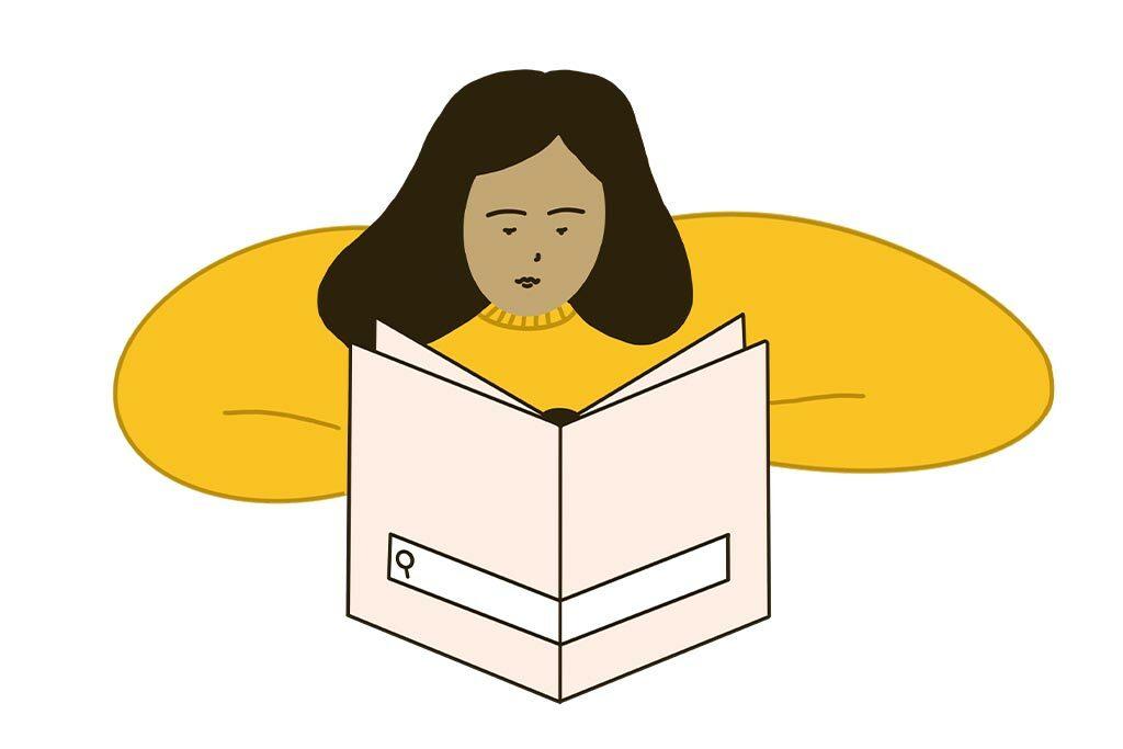 Illustration, Frau liest ein Heft
